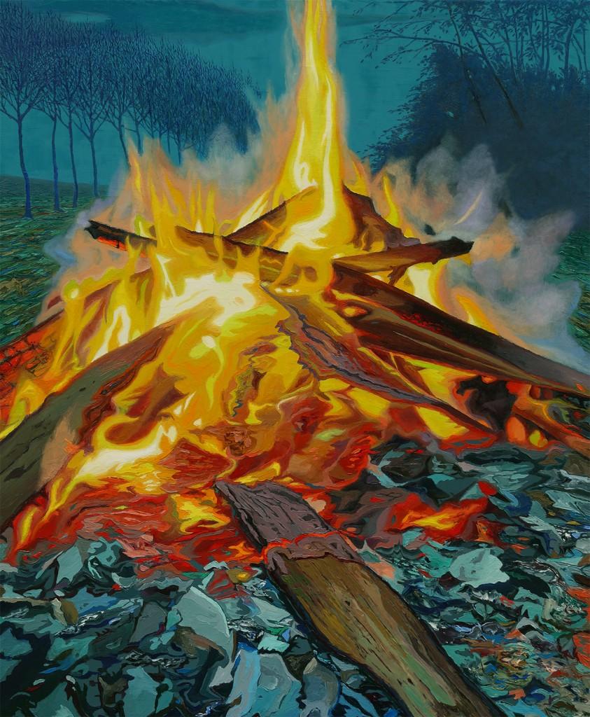 Feuer bei Dämmerung